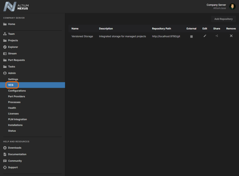 The browser-based interface to the NEXUS Server's local VCS service.
