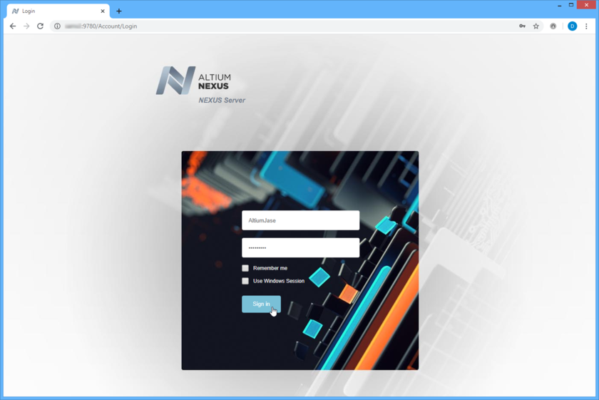 Access the NEXUS Server, and its associated platform services, through a preferred external Web browser. Hover over the image to see the effect of successfully signing in to the interface.