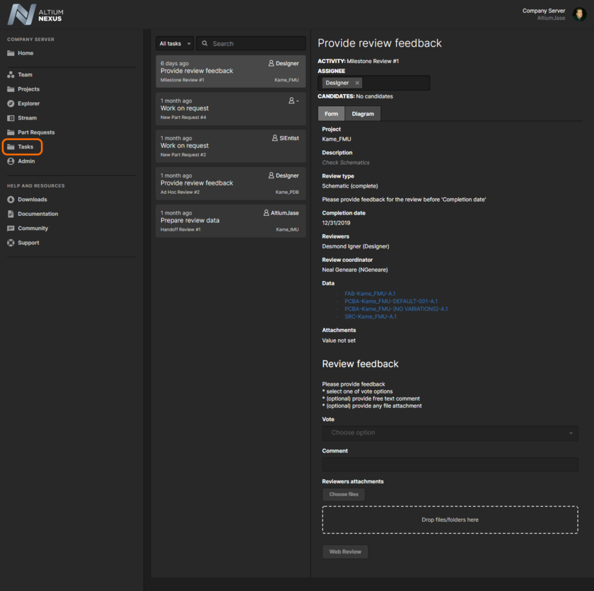 Instantly see what tasks require your attention, on the Tasks page of the NEXUS Server's browser interface. The relevant form of the associated process workflow is presented for you to enter/add/choose your required input.