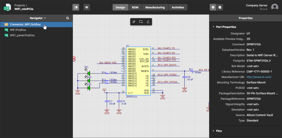 The Design view utilizes Altium's Web Review functionality to provide an immersive and interactive experience for reviewing the source schematic and PCB documents in your design project. Shown here is a schematic – hover over the image to see the PCB.