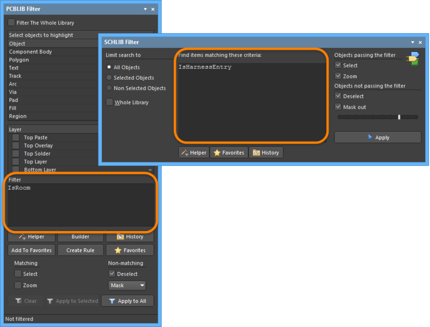 The PCBLIB Filter and SCHLIB Filter panels with queries
