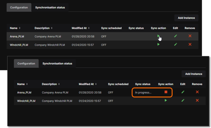 Component synchronization in progress between the NEXUS Server and the indicated PLM instance.