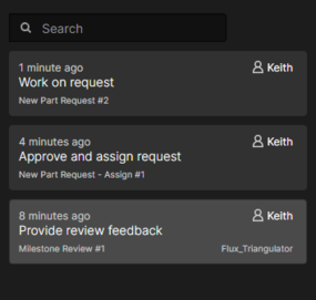 Example listing of outstanding tasks for user Keith.