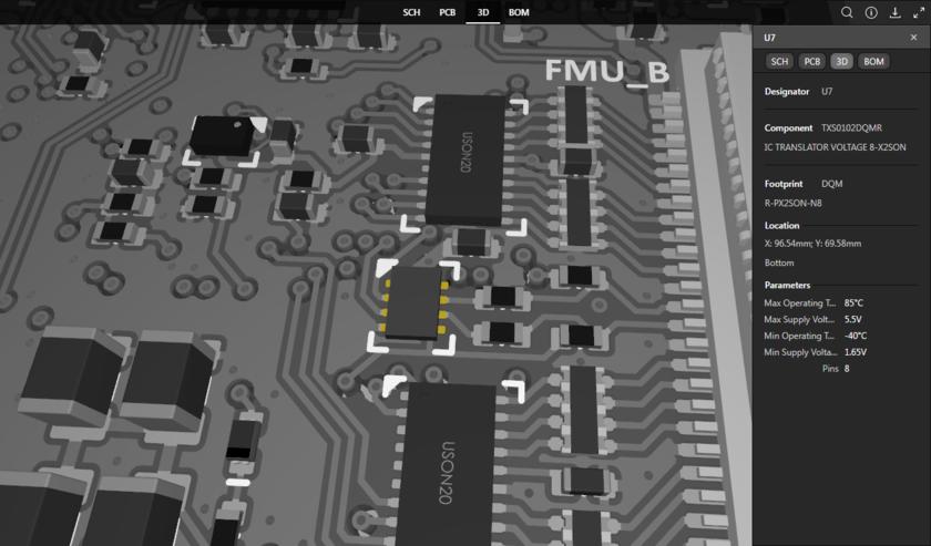 Представление данных 3D поддерживает выделение компонентов, контактных площадок и переходных отверстий. Здесь показан выделенный компонент.