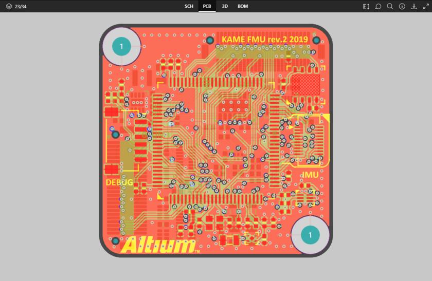 Представление данных PCB отображает 2D-вид платы.