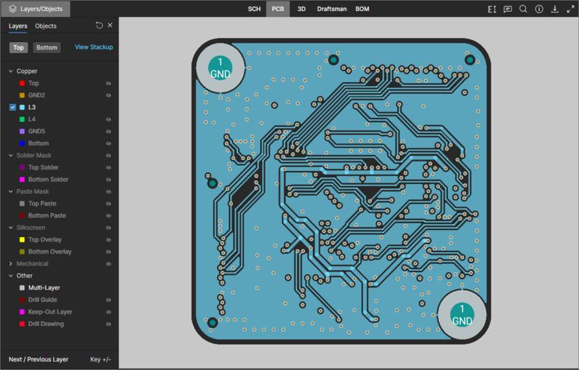 Представление данных PCB поддерживает режим одного слоя. Здесь показан вызов элемента управления Only. Наведите курсор мыши на изображение, чтобы увидеть результат.