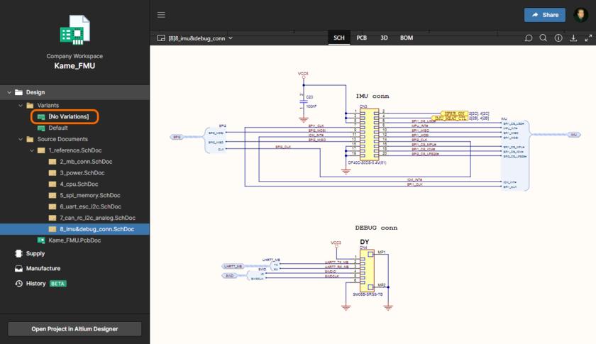 Интерфейс можно использовать для изучения вариантов проекта. По умолчанию отображается базовый проект ([No Variations], показан здесь для представления данных SCH). Используйте элементы управления в области навигации слева, чтобы переключиться на другой вариант (наведите курсор мыши, чтобы увидеть пример).