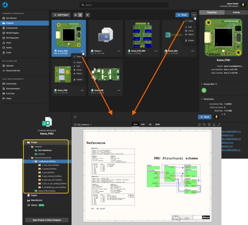 Открытие страницы Projects Management проекта со страницы Projects веб-интерфейса Workspace. Интерфейс Web Viewer доступен через представление Design страницы.