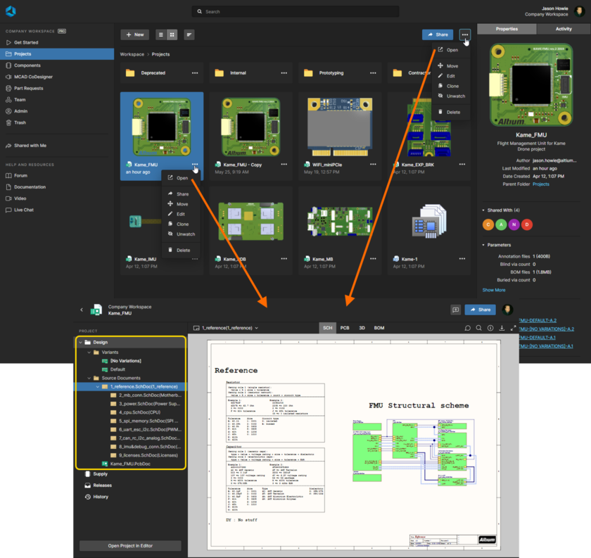 Accessing the detailed management page for a project from the Projects page of the Workspace's browser interface. The Web Viewer interface is presented through the page's Design view.