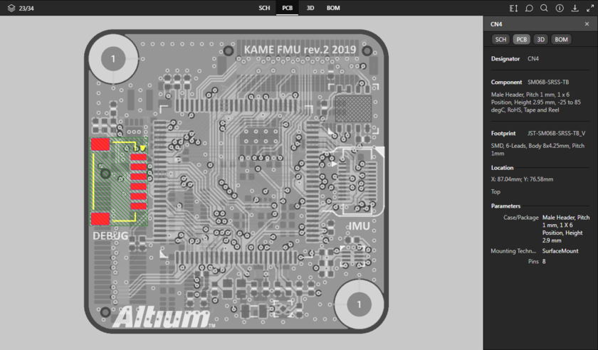 Представление данных PCB поддерживает выделение компонентов, контактных площадок, переходных отверстий, сегментов трасс и цепей. Здесь показан выделенный компонент. Наведите курсор мыши на изображение, чтобы увидеть выделенный сегмент трассы.
