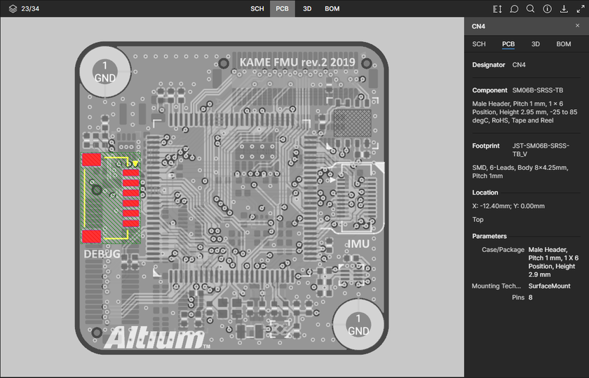 The PCB data view supports selection of components, pads, vias, track segments and nets. Here, a selected component is shown. Hover the mouse over the image to see a selected track segment.