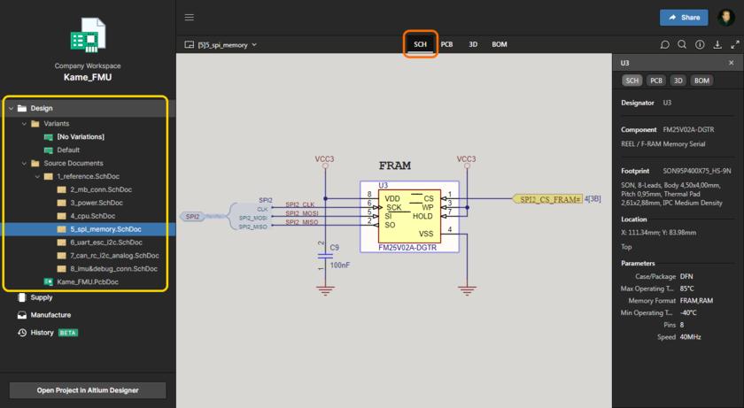 Интерфейс Web Viewer Altium 365 обеспечивает полноценный интерактивный просмотр исходных документов схем и плат ваших проектов. Здесь показана схема; наведите курсор мыши на изображение, чтобы увидеть плату (в 3D).