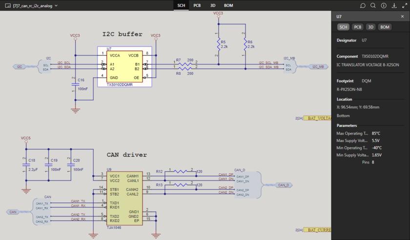 Представление данных SCH поддерживает выделение компонентов и цепей. Здесь показан выделенный компонент. Наведите курсор мыши на изображение, чтобы увидеть выделенную цепь.