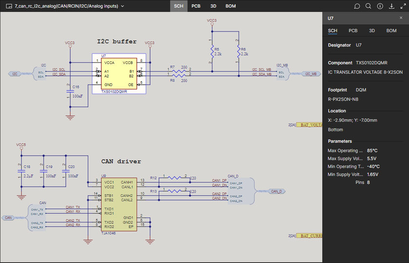 The SCH data view supports selection of components and nets. Here, a selected component is shown. Hover the mouse over the image to see a selected net.
