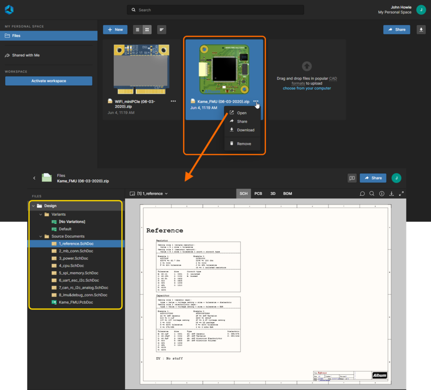 Altium 365's Web Viewer interface is used by the integrated Viewer when viewing a data snapshot that has been shared with you (or that you have uploaded to the persistent storage in your Personal Space). Shown here is a snapshot of a design project. Hover over the image to see a snapshot of Gerber data.