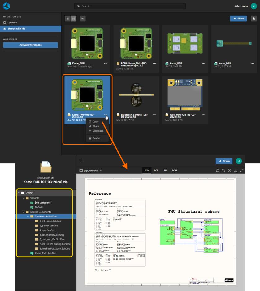 Интерфейс Web Viewer Altium 365 используется встроенным средством просмотра при просмотре слепка проекта, который был опубликован вам.