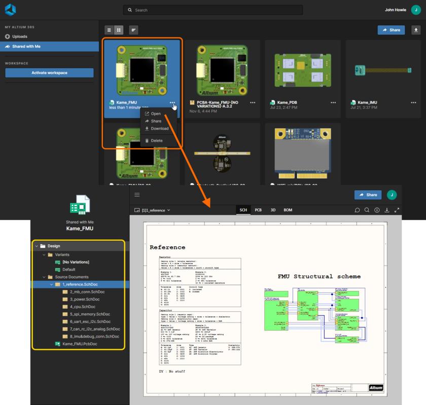 Интерфейс Web Viewer Altium 365 используется встроенным средством просмотра при просмотре динамического проекта, который был опубликован вам.