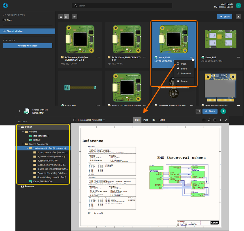 Altium 365's Web Viewer interface is used by the integrated Viewer when viewing a live design that has been shared with you.