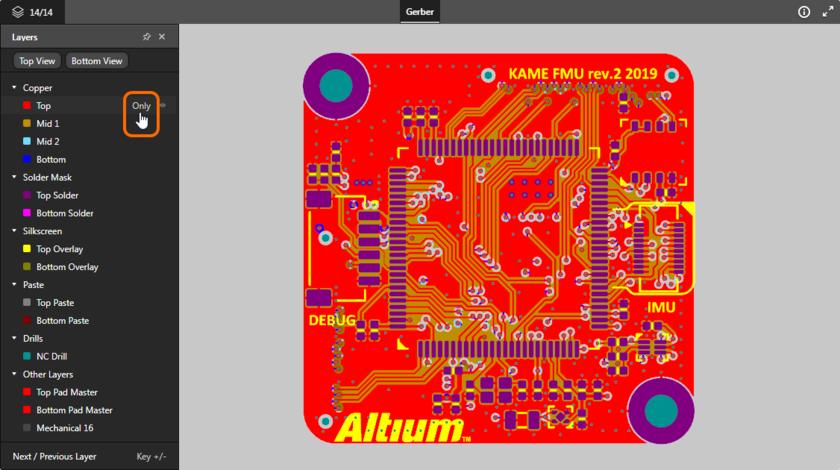 Представление поддерживает режим одного слоя. Здесь показан доступ к элементу управления Only. Наведите курсор мыши на изображение, чтобы увидеть результат.