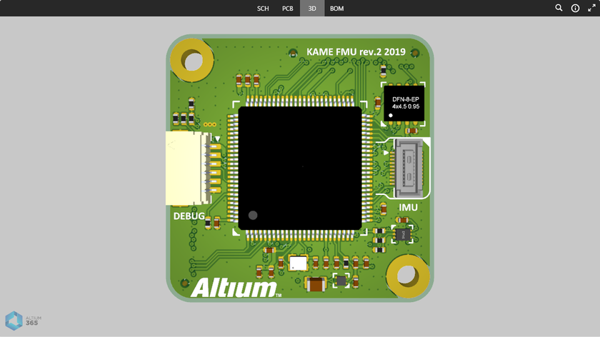 The 3D data view presents a 3D view of the PCB.