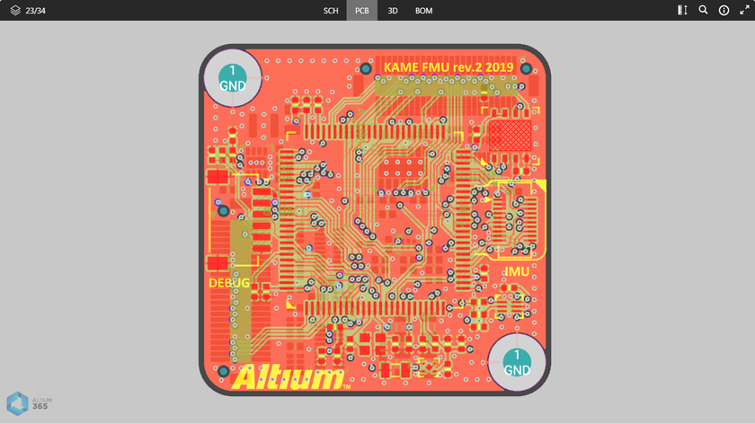The PCB data view presents a 2D view of the PCB.