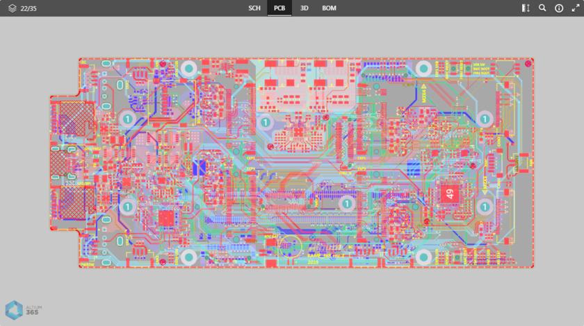 Представление данных PCB отображает 2D-представление платы.
