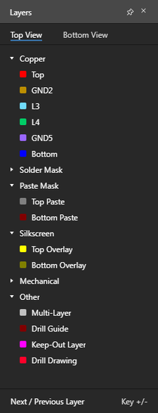 Layers pane – command central for controlling layer visibility.