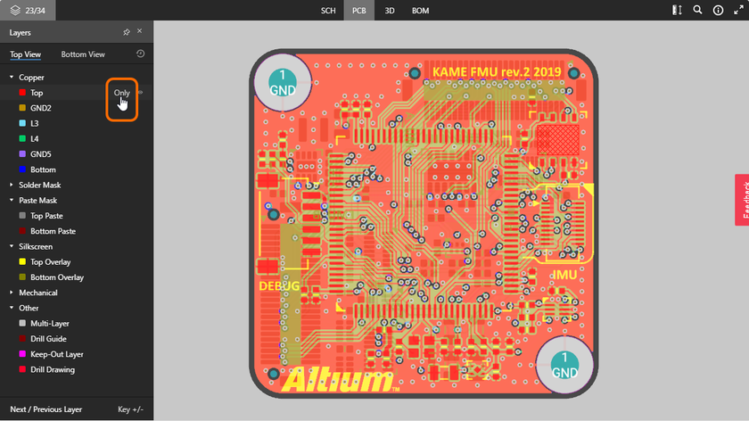 The PCB data view supports single layer mode. Here, access to the Only control is shown. Hover the mouse over the image to see the result.