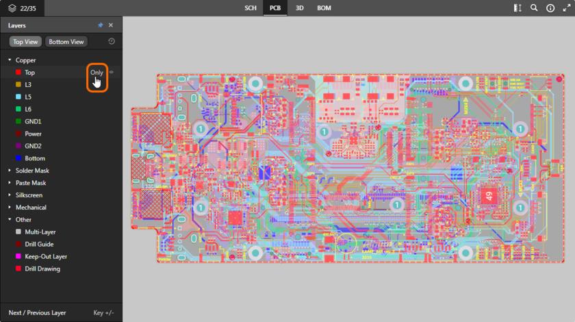 Представление данных PCB поддерживает режим одного слоя. Здесь показан доступ к элементу управления Only. Наведите курсор мыши на изображение, чтобы увидеть результат.