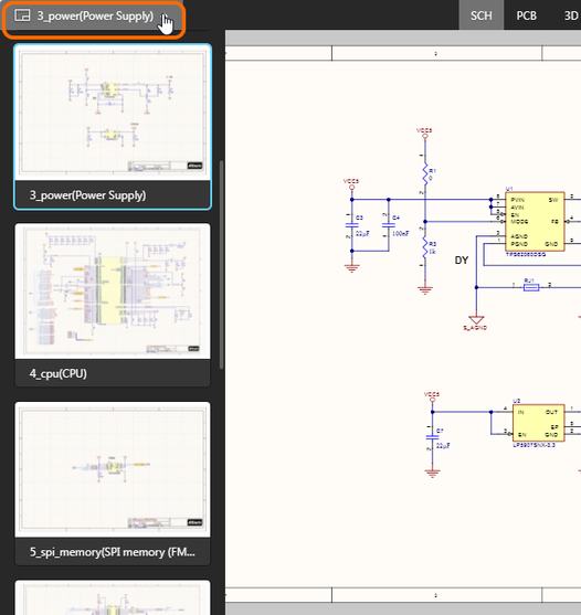 Browse all uploaded schematics – click an entry to make it the active document.