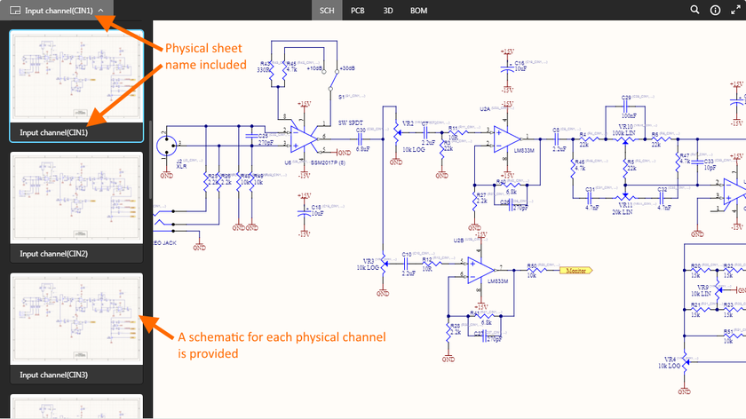 Example multi-channel design, with each physical channel being presented on a different schematic sheet.