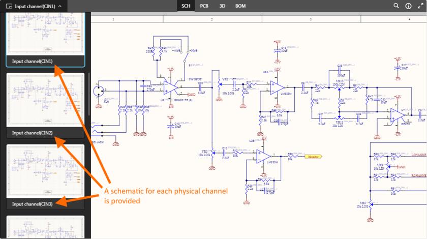 Пример многоканального проекта, где каждый физический канал представлен на отдельном листе схемы.