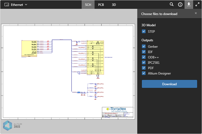 Example embedded Altium 365 Viewer (on the Toradex site) and the downloads available for the design.