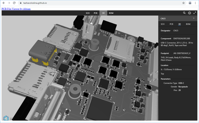 Example showing Altium 365 Viewer embedded on a page within the GitHub community.