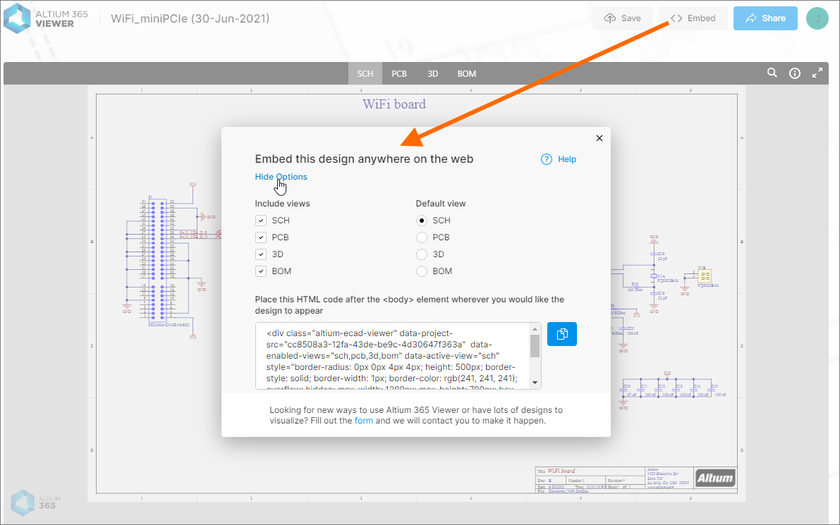 Accessing the embed code for a design uploaded to Altium 365 Viewer on the Altium website.