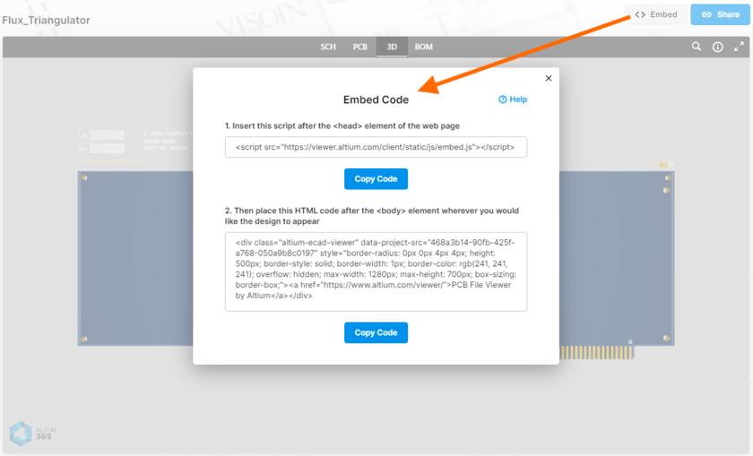 Доступ к коду для встраивания проекта, загруженного в Altium 365 Viewer на веб-сайте Altium.