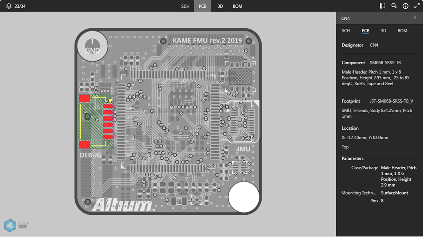 The PCB data view supports selection of components, pads, vias, track segments, and nets. Here, a selected component is shown. Hover the mouse over the image to see a selected net.