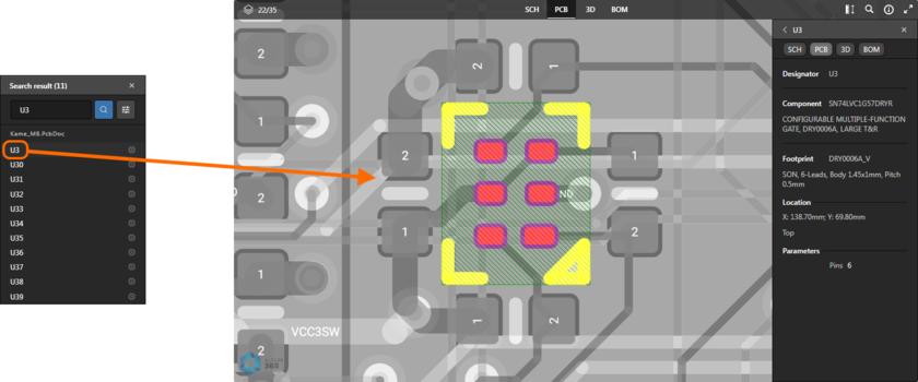 Пример использования поиска. Здесь показан результат поиска компонента в активном представлении данных PCB. Наведите курсор мыши на изображение, чтобы увидеть результат поиска цепи в активном представлении данных SCH.