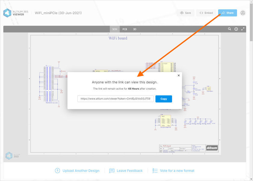 Obtain a link with which to share your uploaded CAD design (or CAM data) with others – time limited to 48 hours.