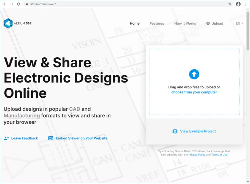 Доступ к Altium 365 Viewer на веб-сайте Altium.