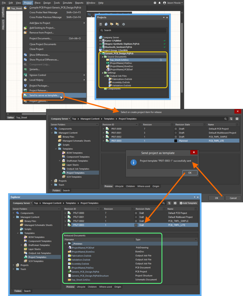 Example of sending an existing project to the managed content server to which you are actively signed in. The release must be to an existing revision of a Project Template Item, and that revision must be in the Planned state.
