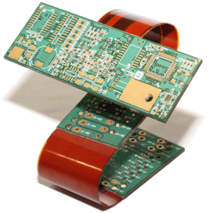 A single-sided PCB shown on the left, typical of early PCB design. On the right is a rigid-flex PCB, where rigid sections are connected via flexible sections of PCB.