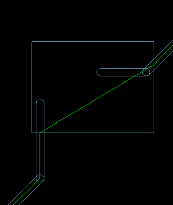 The length calculation is accurately calculated along the centerline of the shortest path, as shown in these two images.