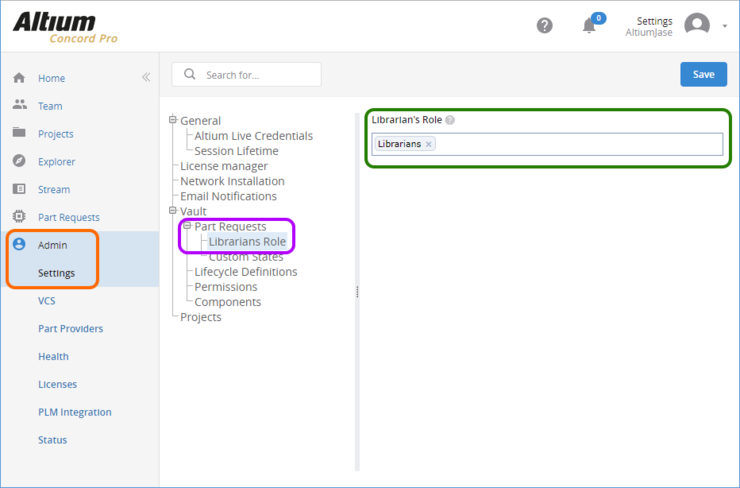The Librarians Role page of the Admin - Settings area provides the interface for specifying which existing role(s) should be used as Librarians for the Part Request feature.