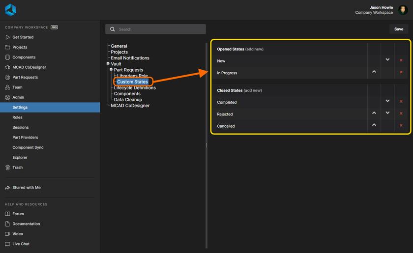 Страница Custom States области Admin - Settings предоставляет интерфейс для настройки состояния, используемых запросами компонентов.