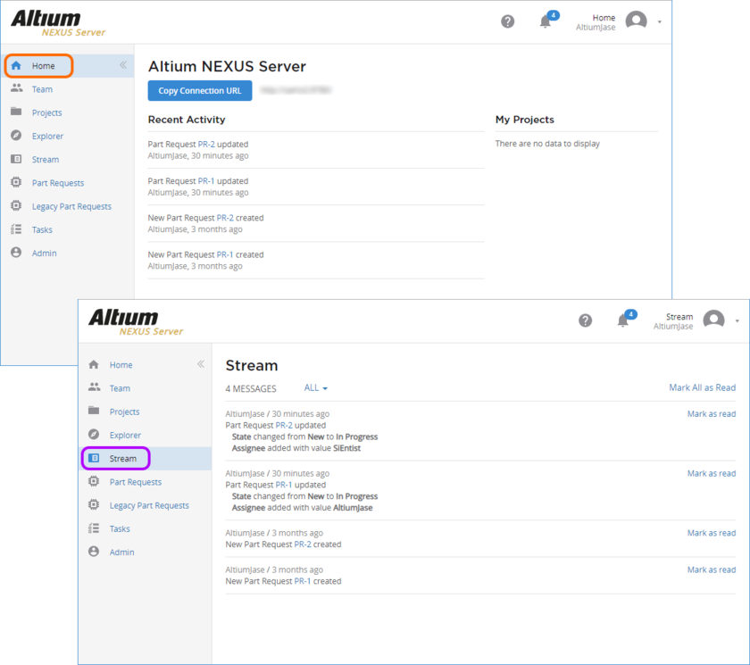 The relevant parties receive notification of part request creation, and any updates, through the Stream and Home pages of the server's browser interface.