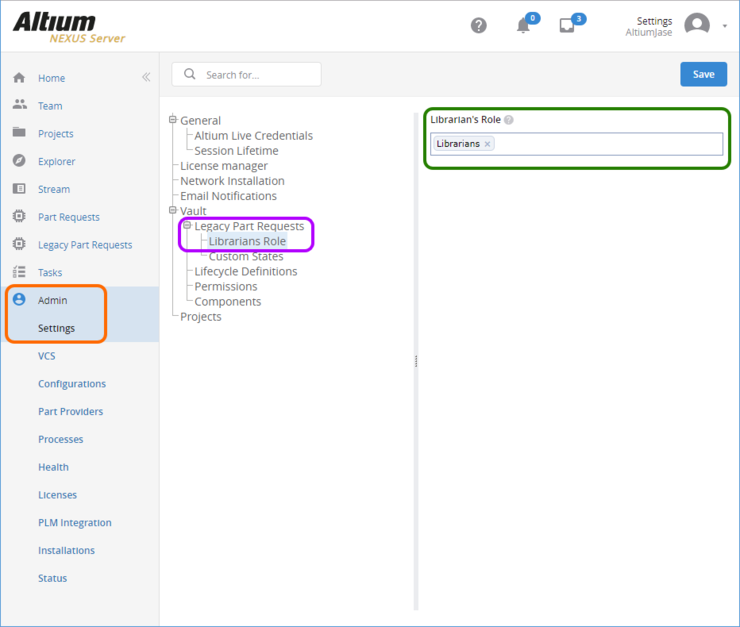 The Librarians Role page of the Admin - Settings area provides the interface for specifying which existing role(s) should be used as Librarians for the Legacy Part Request feature.