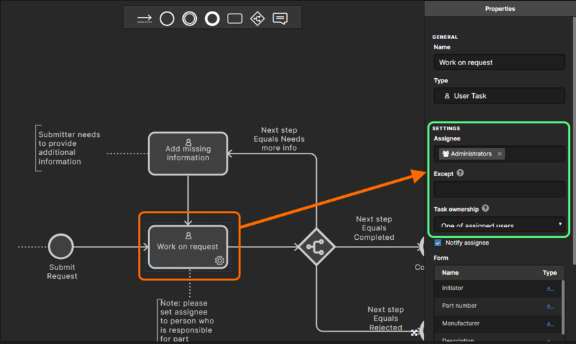 Which user initially receives the task of working on a new part request depends on how the settings for Assignee, Except, and Task ownership have been defined, for the initial user task - in the underlying workflow for the applicable process definition. The image above shows the settings for the default New Part Request process definition.