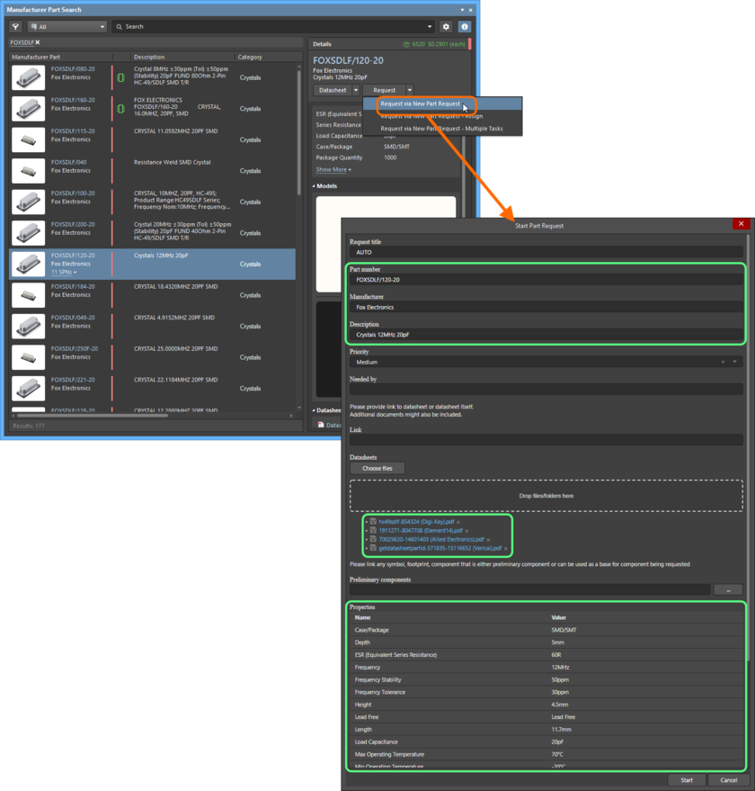 Example showing the Start Part Request dialog when running the New Part Request process definition from within the Manufacturer Part Search panel. Notice that a lot of information is pre-filled for you (highlighted in green for the part chosen here).