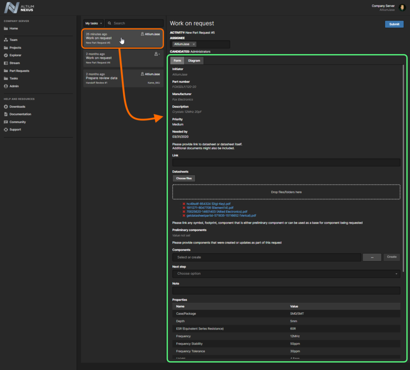 Example form for a user task associated with the default New Part Request process, when accessed from the Tasks page in the server's browser interface.